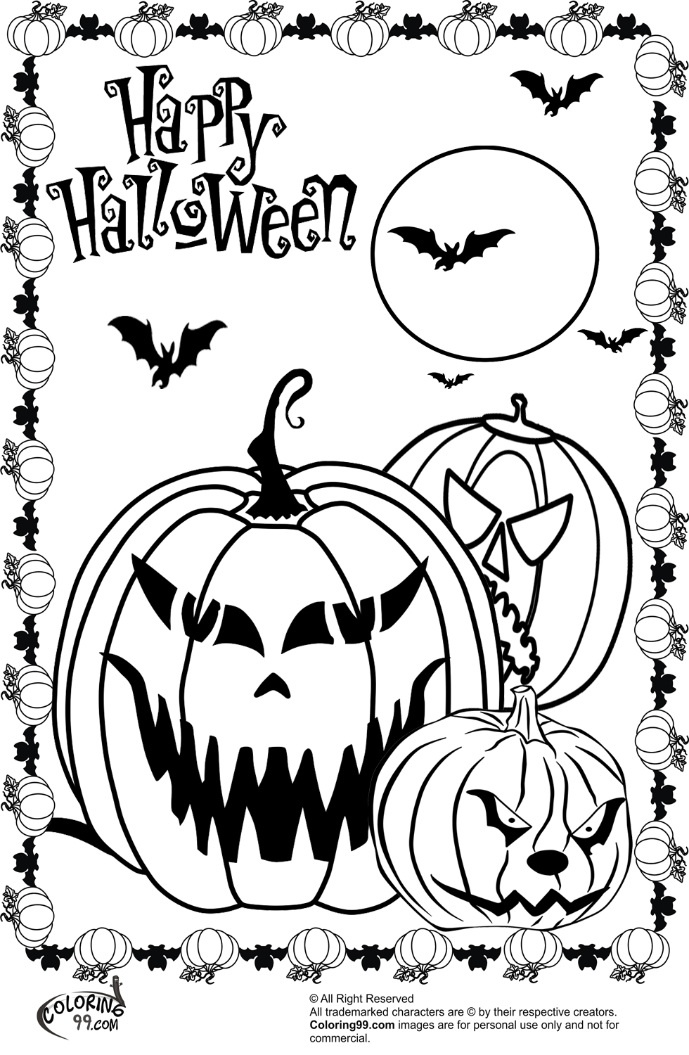 scary halloween pumpkin coloring minister three pumpkins pictures for girls craft sets coloring pages Halloween Pumpkin Coloring Page