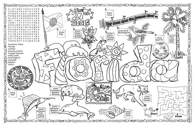 school projects ideas flag coloring state symbols putty for walls winter pdf silhouette coloring pages Florida Coloring Page