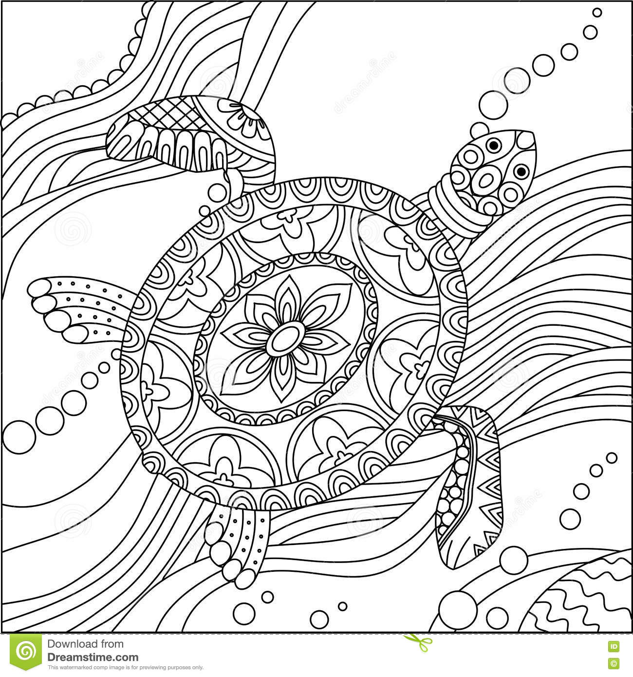 sea turtle coloring stock vector illustration of drawing turtles doodle zentangle drawn coloring pages Sea Turtles Coloring Page