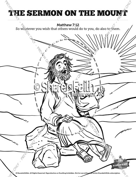 sermon on the mount beatitudes sunday school coloring sharefaith kids mouseover3 blick coloring pages Beatitudes Coloring Page