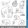 set of wild asian animals outline illustration educational zoology poster coloring book coloring pages Asia Coloring Page