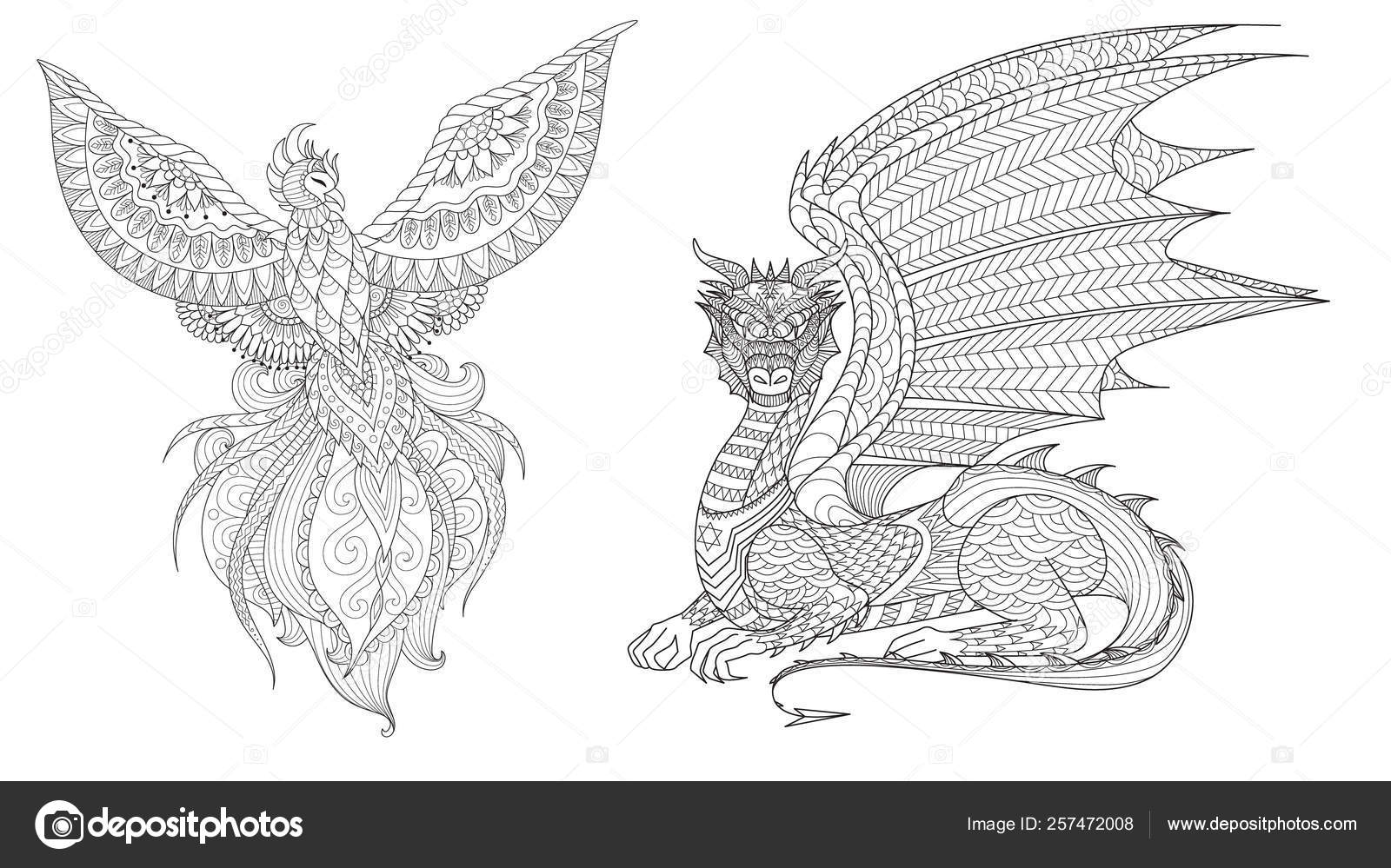 set phoenix dragon design element coloring adult vector illustration stock image by coloring pages Phoenix Coloring Page
