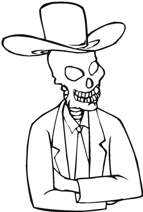 skeleton with cowboy hat coloring netart hats info color by number cursive lowercase coloring pages Cowboy Hats Coloring Page