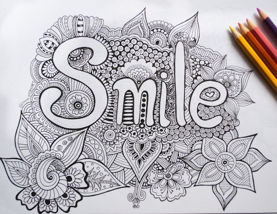 smile printable inspirational quotes coloring sheet etsy il 570xn tpm6 markers for coloring pages Quotes Coloring Page