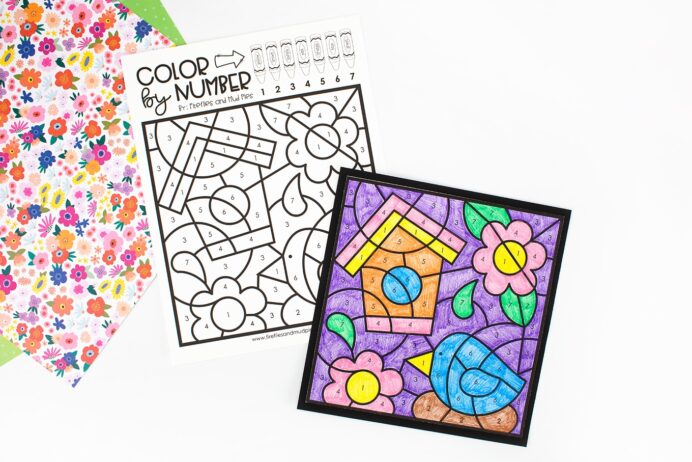 spring coloring by number fireflies and mud pies color activity for kids tempera paints coloring pages Color By Number Coloring Page