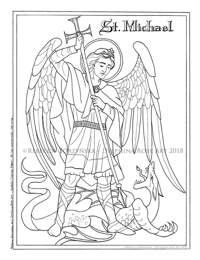 st michael the archangel pdf catholic coloring etsy in books scooby doog book mancala coloring pages St Michael The Archangel Coloring Page