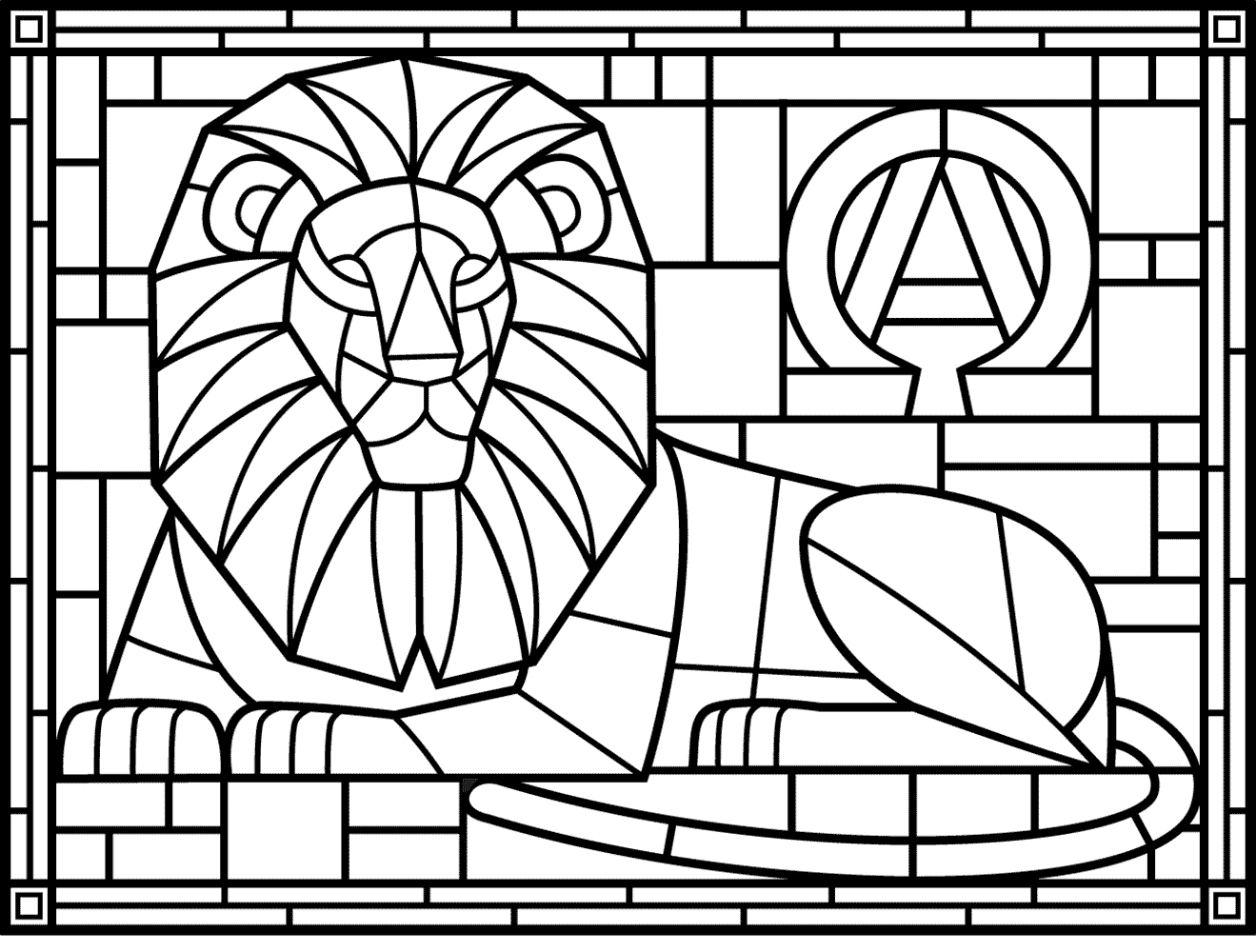 stained glass coloring for adults best kids lion winter remove crayon marks silly string coloring pages Stained Glass Coloring Page
