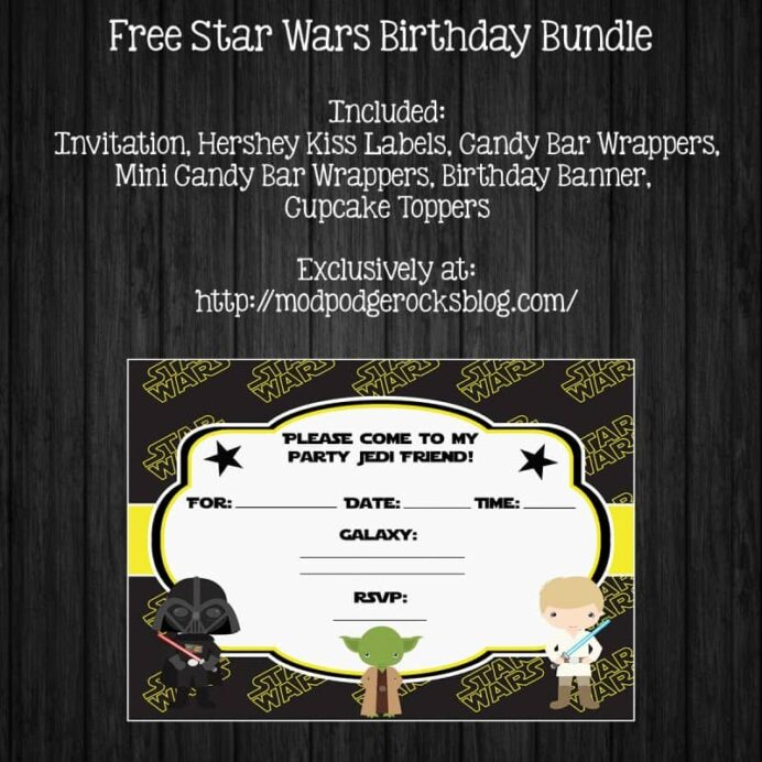 star wars birthday party free printable pack mod podge rocks invitations preview your in coloring pages Star Wars Free Printable Invitations