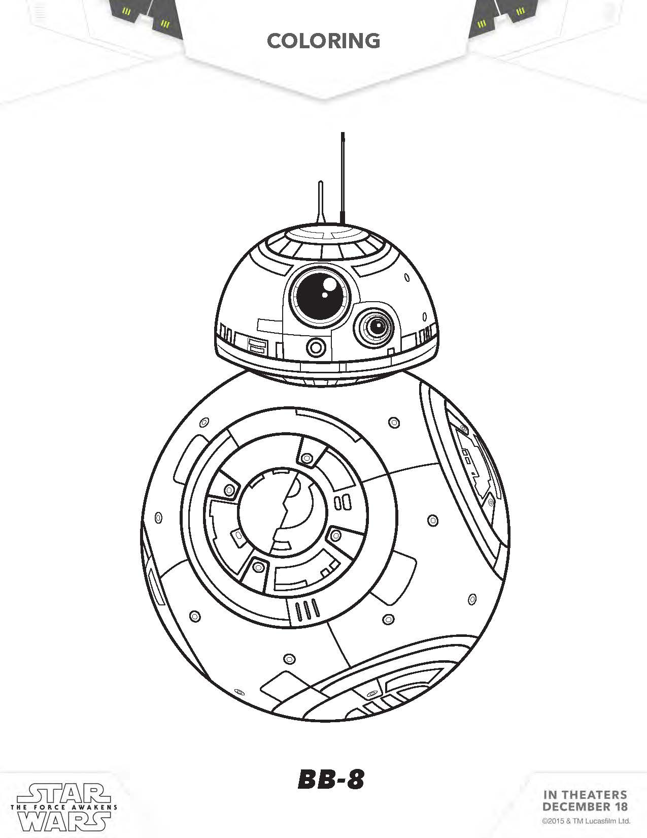 star wars coloring home 4t9apmkbc music sheets pdf allergenic paint at party kit funny coloring pages Bb8 Coloring Page
