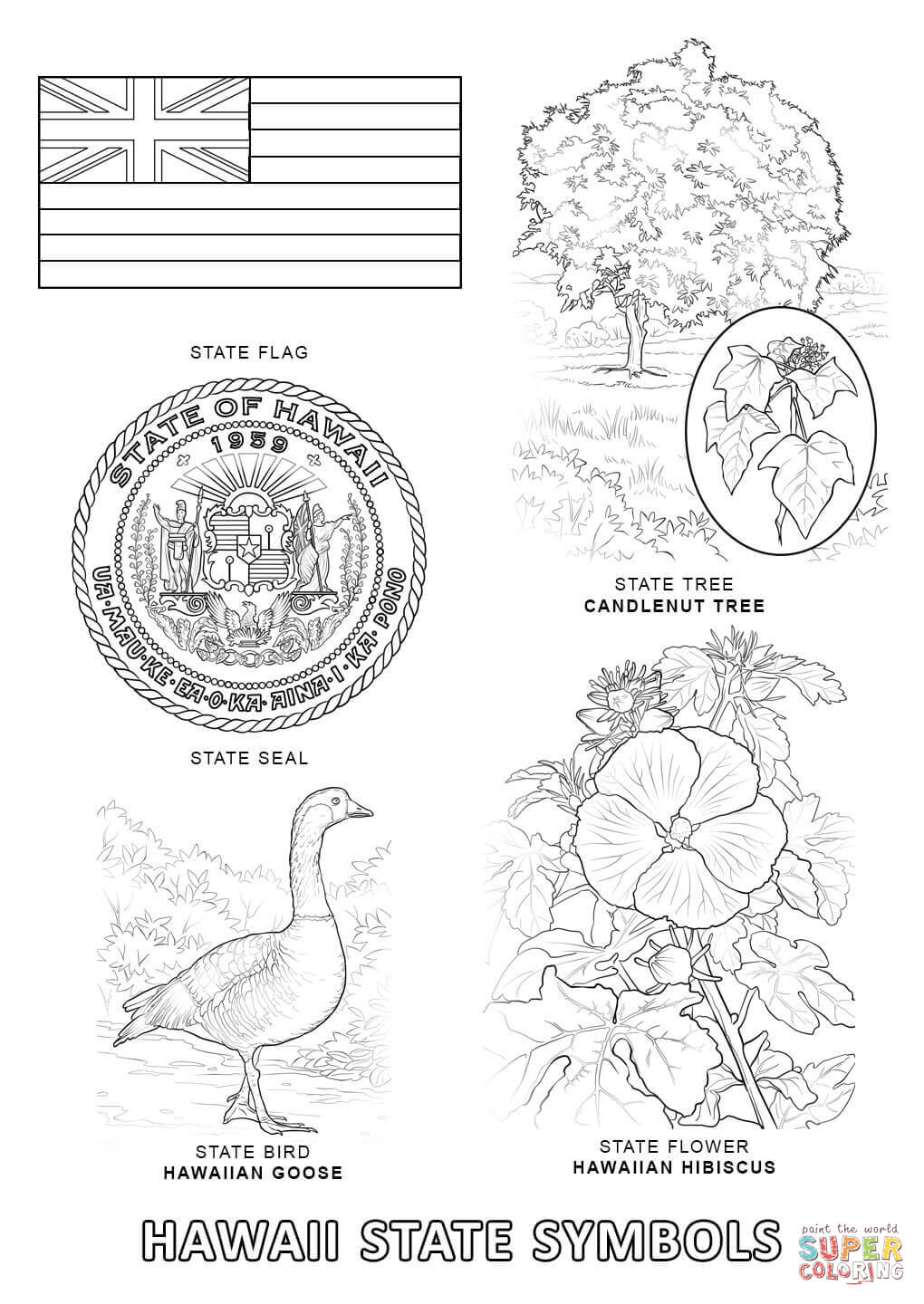 state symbols coloring free printable home ktjgm96qc dogs clipart fuscia color crafting coloring pages Hawaii Coloring Page