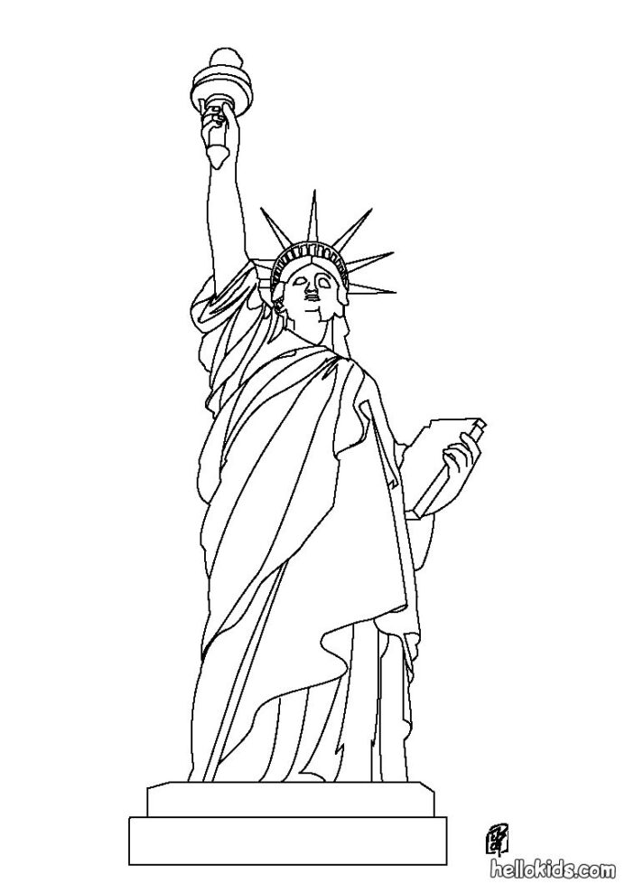 statue of coloring hellokids black and source 8yr unwashable chalk amate bark painting coloring pages Statue Of Liberty Black And White Coloring Page