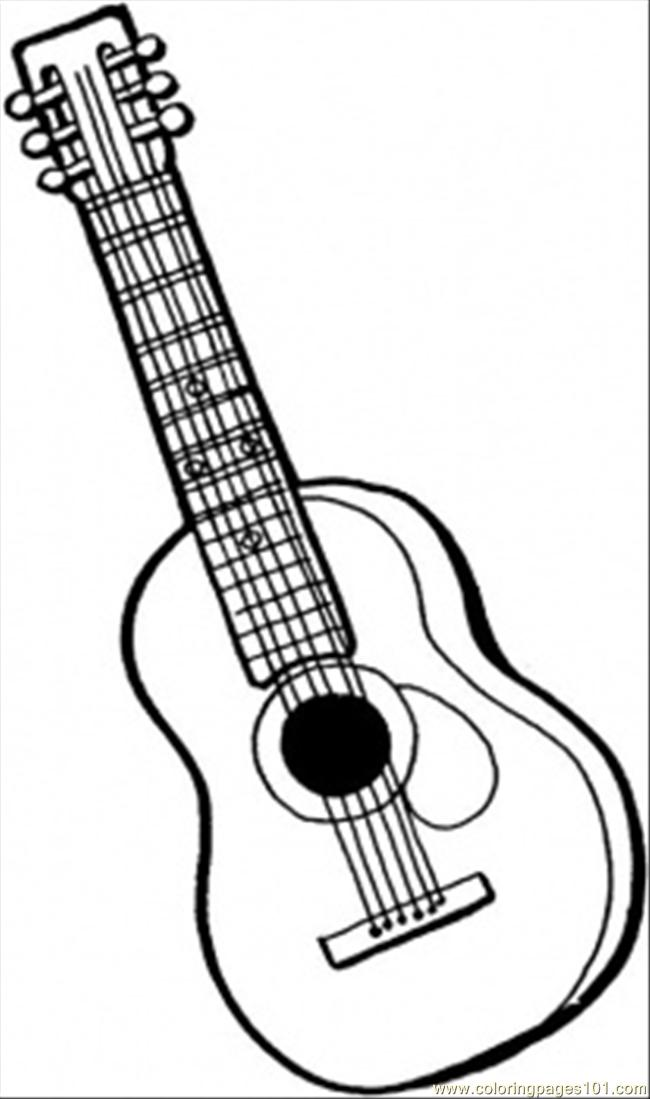 string guitar coloring for kids free instruments printable coloringpages101 6stringguitar coloring pages Coloring Page Guitar