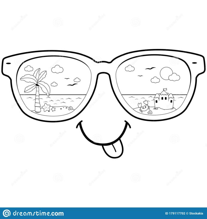 summer beach scene reflected in sunglasses vector black and coloring stock illustration coloring pages Sun Glasses Coloring Page