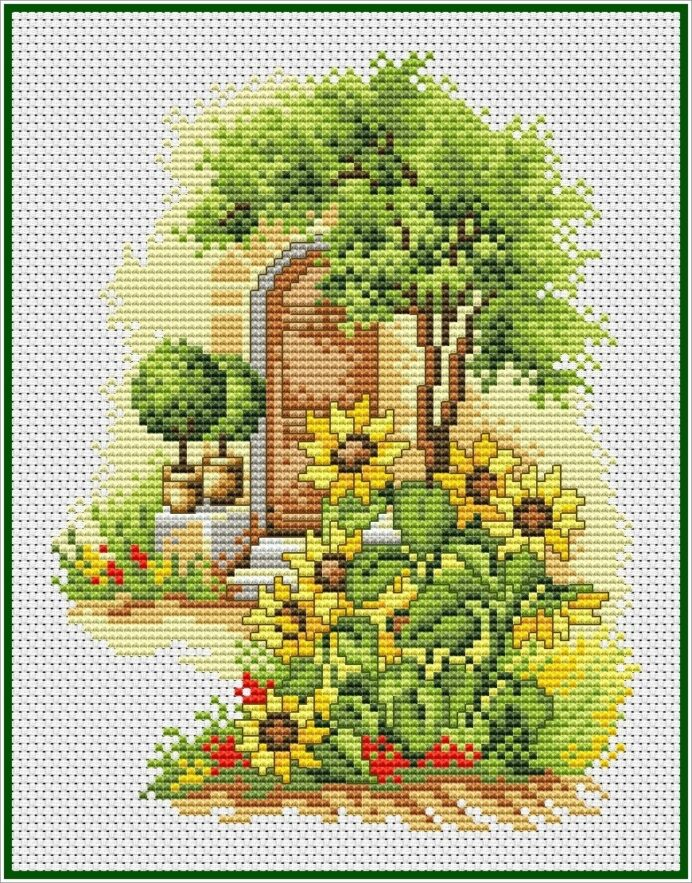 summer flowers patio stitch chart pdf xsd free printable patterns winter color by number coloring pages Free Printable Cross Stitch Patterns Flowers