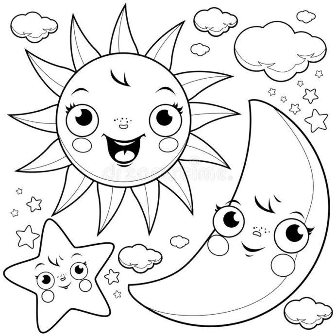 sun moon and stars coloring stock vector illustration of book outline cute clouds black coloring pages Moon And Stars Coloring Page