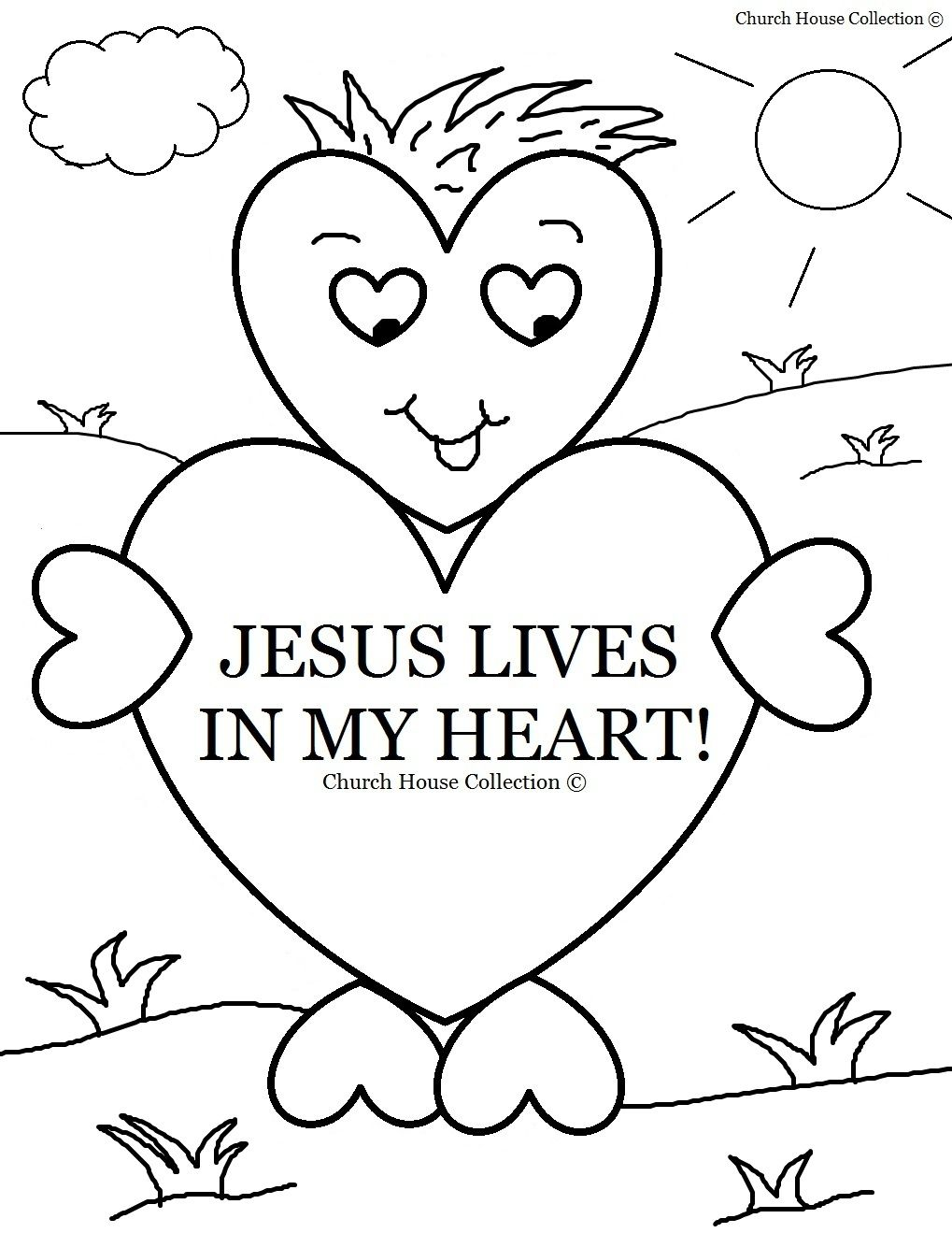sunday school coloring lives in my heart for sunda valentines glue painting on cardstock coloring pages Sunday School Coloring Page