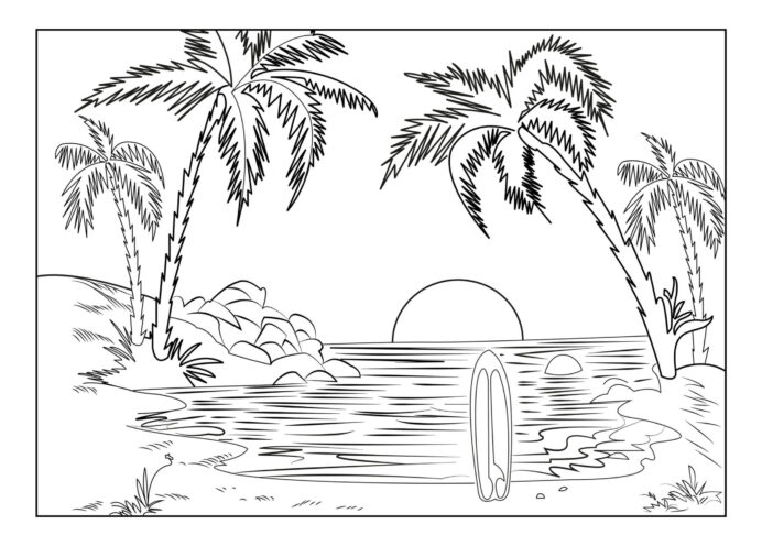 sunset coloring free printable for kids landscape groundhog color red glitter glue bulk coloring pages Sunset Coloring Page