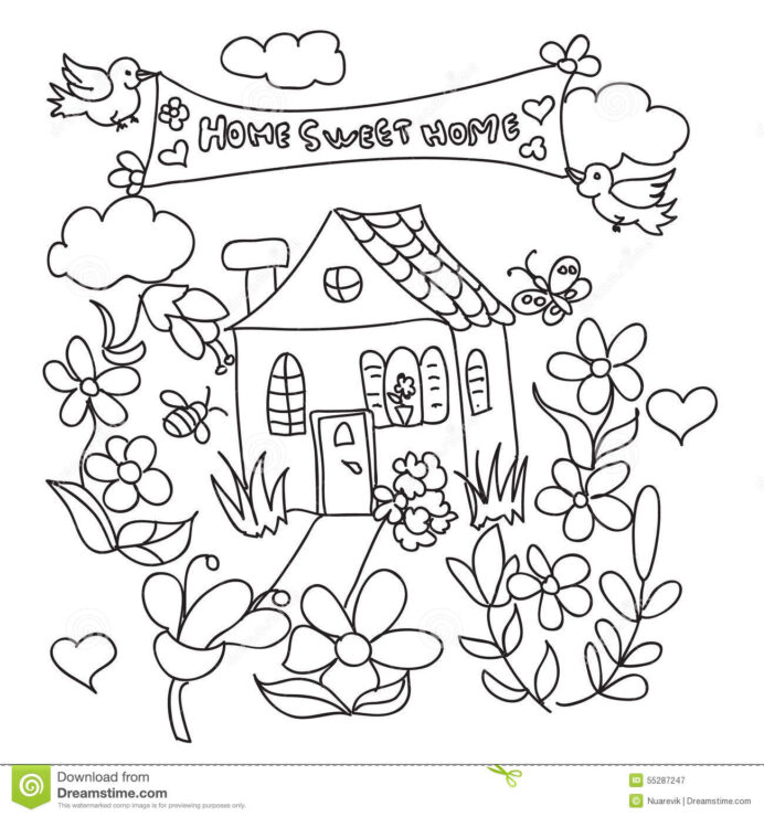 sweet home doodles coloring stock illustration of drawing isolated color poppy crayola fx coloring pages Home Coloring Page
