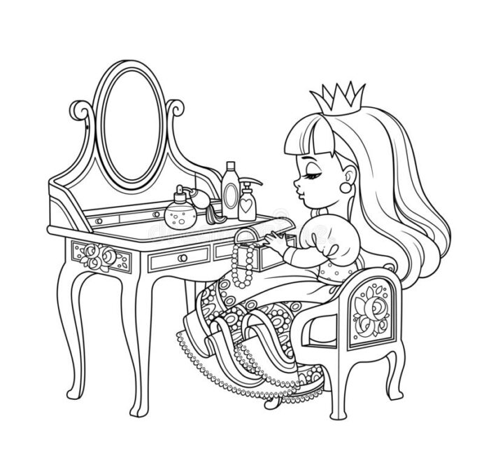 table coloring stock illustrations vectors clipart dreamstime cute princess sitting coloring pages Table Coloring Page