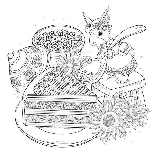 tea coloring vector images free royalty vectors depositphotos stock illustration pastries coloring pages Tea Coloring Page