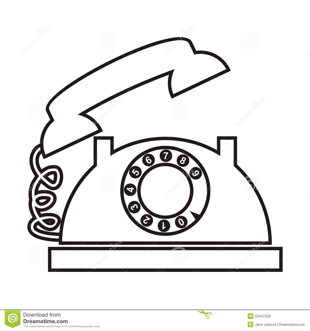 telephone coloring stock illustrations vectors clipart dreamstime dial black silhouette coloring pages Telephone Coloring Page