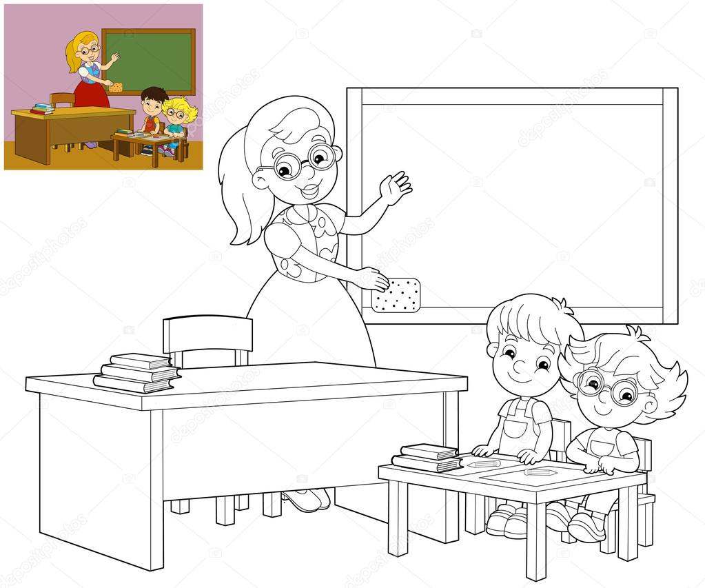 the coloring classroom illustration for children stock photo by illustrator hft coloring pages Classroom Coloring Page