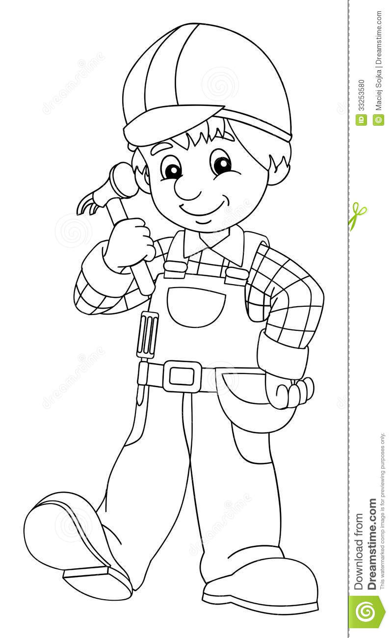 the coloring plate construction worker illustration for children stock of people coloring pages Construction Worker Coloring Page