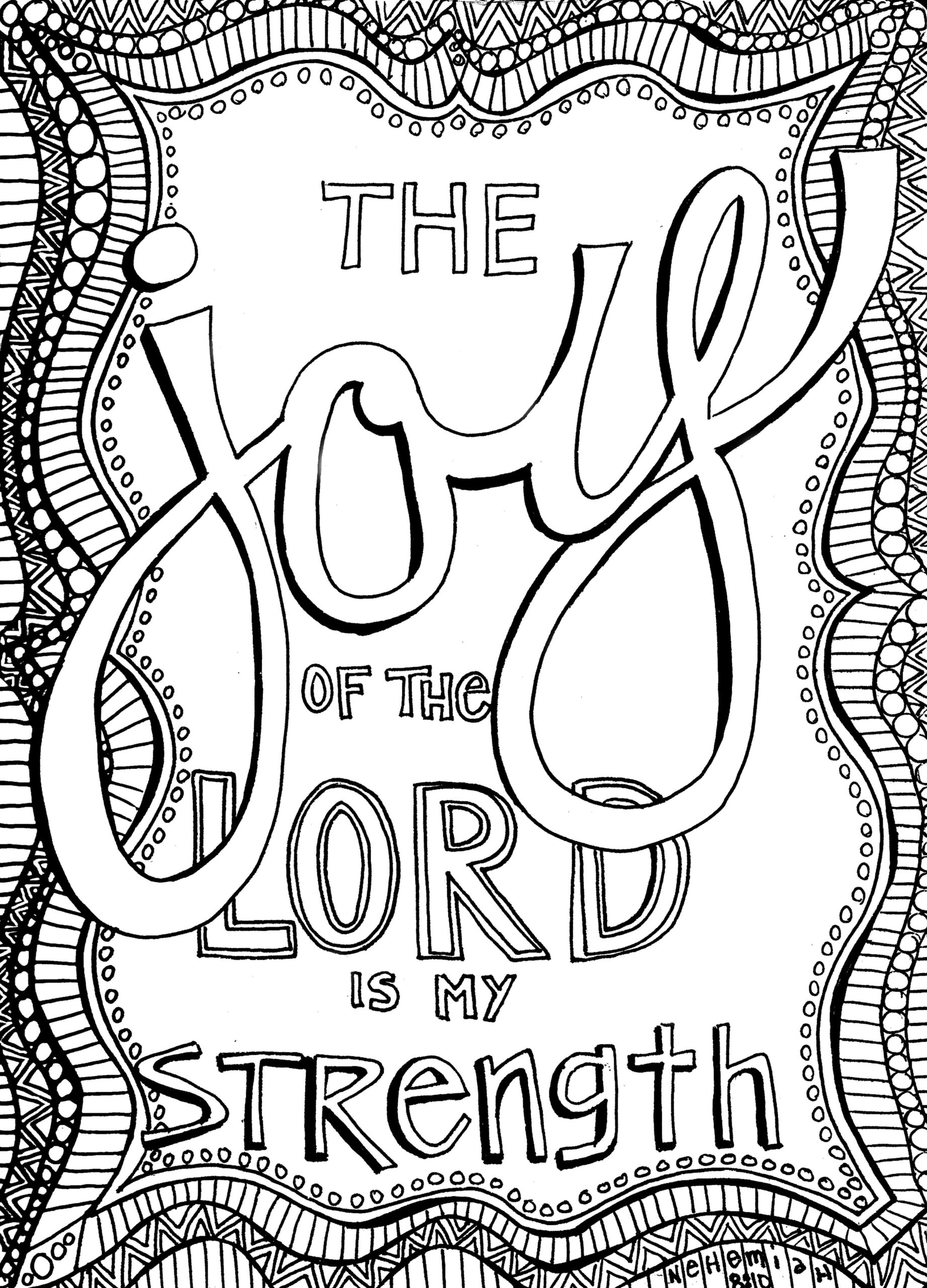 the joy of lord sunday doodle from victory road is my strength coloring neh science coloring pages The Joy Of The Lord Is My Strength Coloring Page