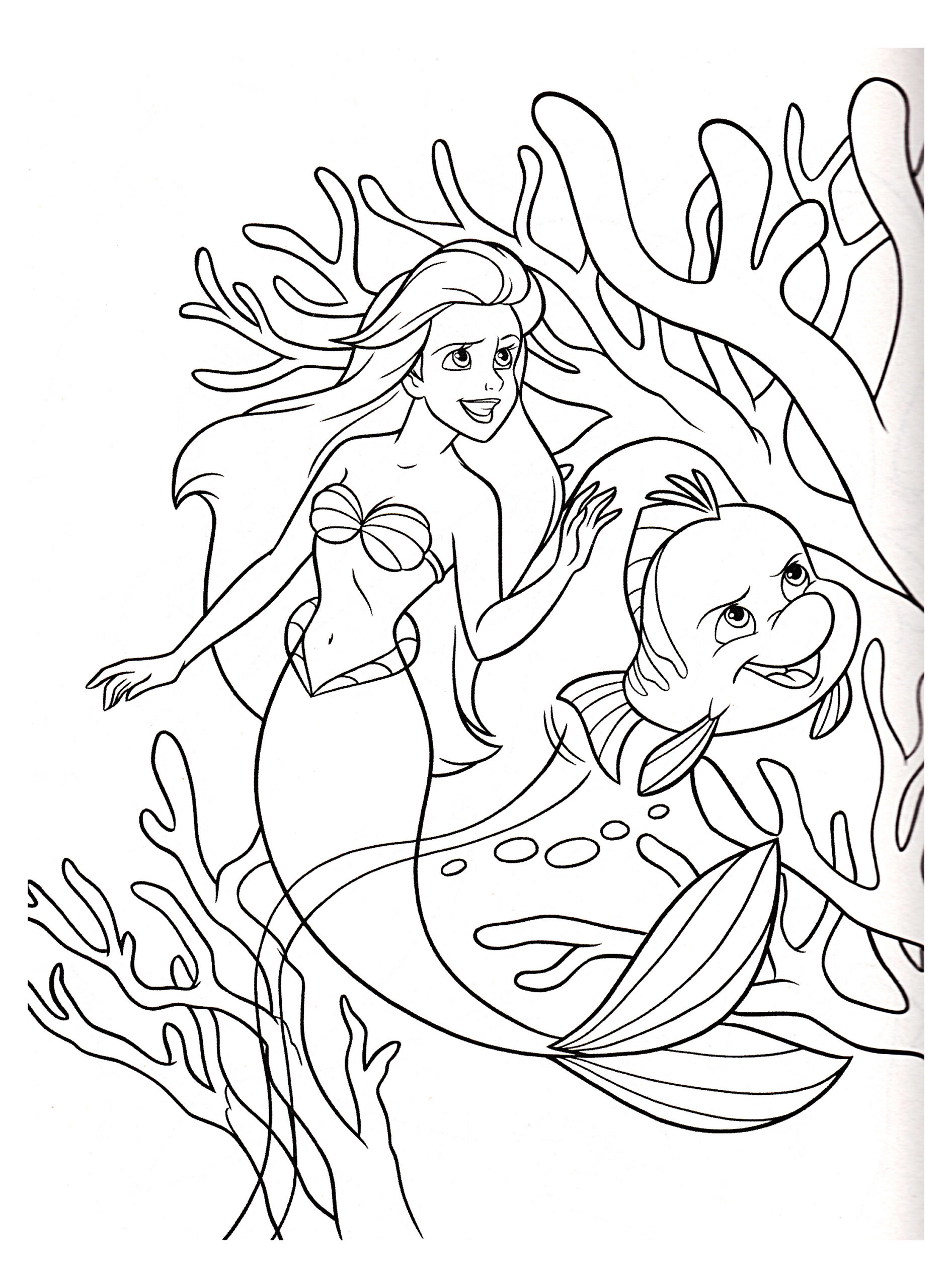 the little mermaid to color for children kids coloring bubble prints small leaf coloring pages Little Mermaid Coloring Page