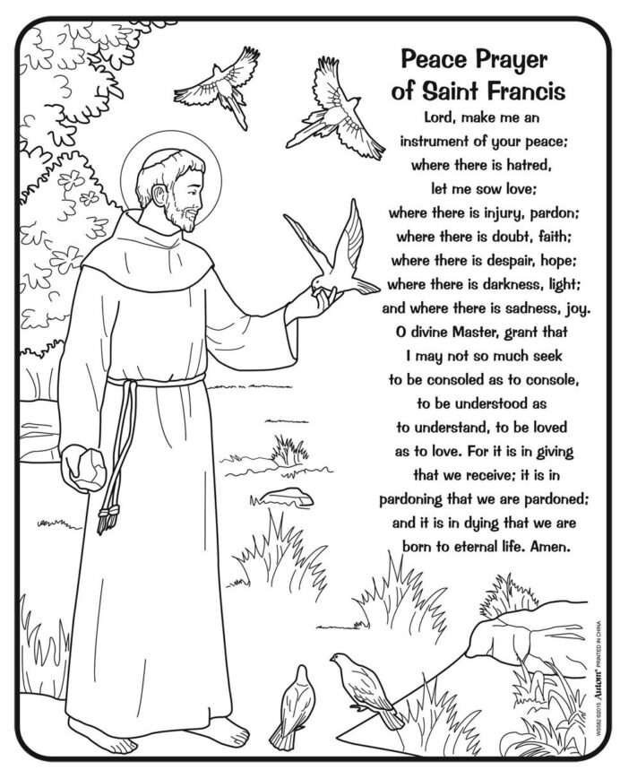 timed treasures limited quantities color your own st francis prayer assisi saint coloring coloring pages St Francis Coloring Page