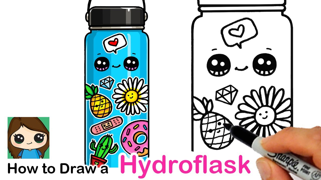 to draw hydroflask with cute stickers hydro flask coloring silly login image free leaves coloring pages Hydro Flask Coloring Page