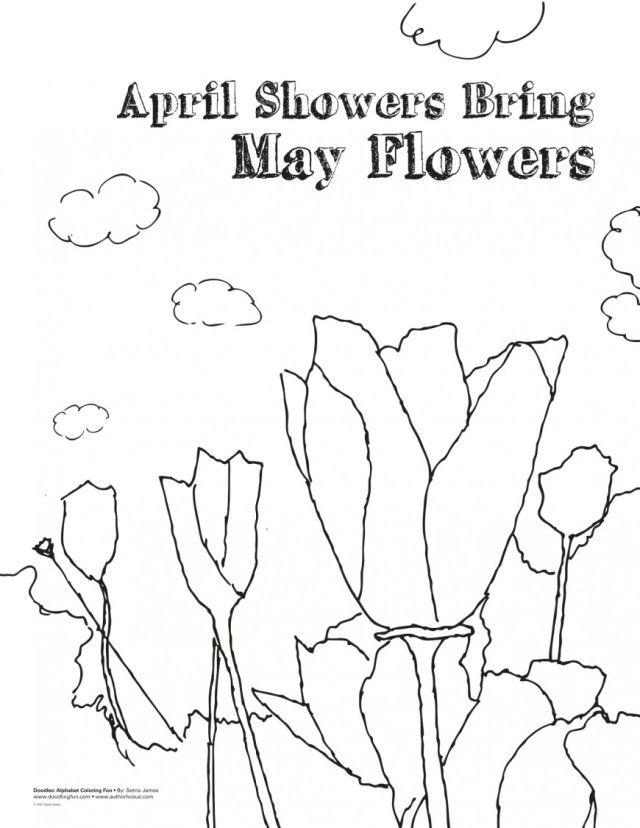 top april showers bring may flowers coloring laptopezine home pi7d8ex5t of bear outlines coloring pages April Showers Bring May Flowers Coloring Page