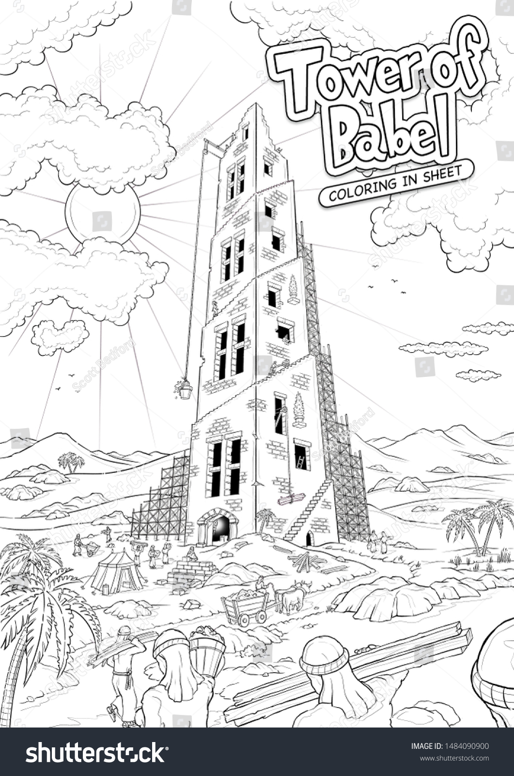 tower babel bible coloring sheet stock illustration of photo in thanksgiving figuring coloring pages Tower Of Babel Coloring Page