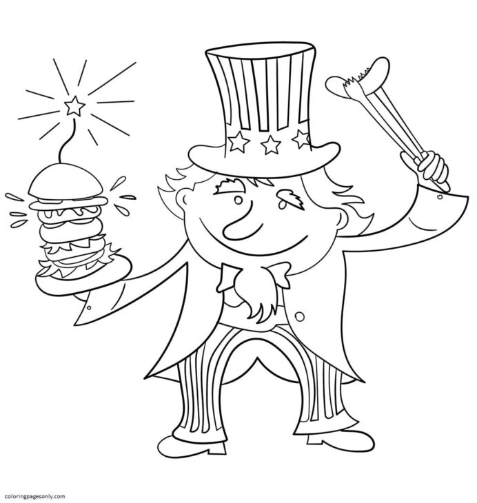 uncle sam on 4th july coloring of for kids and adults color blending markers colored coloring pages Uncle Sam Coloring Page