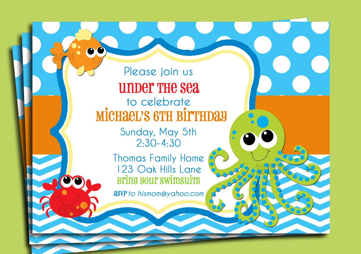 under the sea invitation printable or printed with free etsy birthday party invitations coloring pages Under The Sea Birthday Party Invitations Free Printable