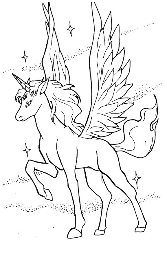 unicorn coloring and wings with fairy art kit oil pastel bisque color colors of bubbles coloring pages Unicorn With Wings Coloring Page