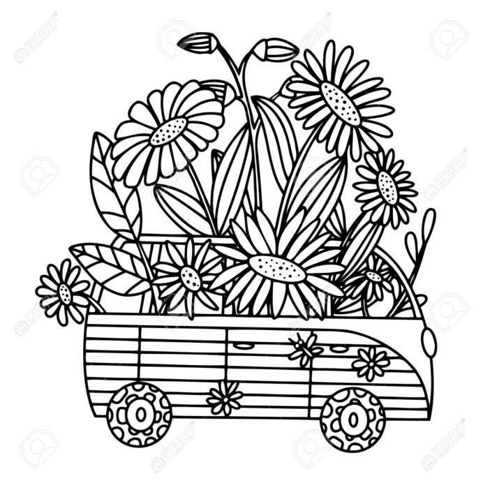vector coloring book with retro bus and colors vintage hippie car mini van royalty free coloring pages Hippie Coloring Page