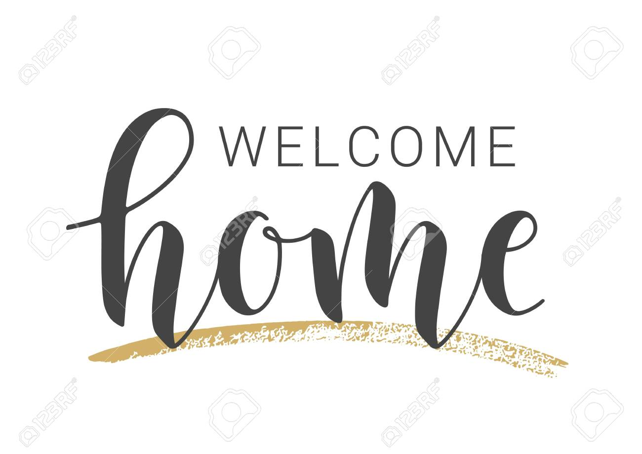 vector illustration handwritten lettering of welcome home template for greeting card coloring pages Free Printable Welcome Home Signs