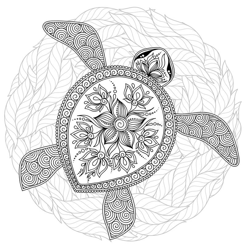 vector illustration of sea turtle for coloring book stock black graphic turtles adults coloring pages Sea Turtles Coloring Page