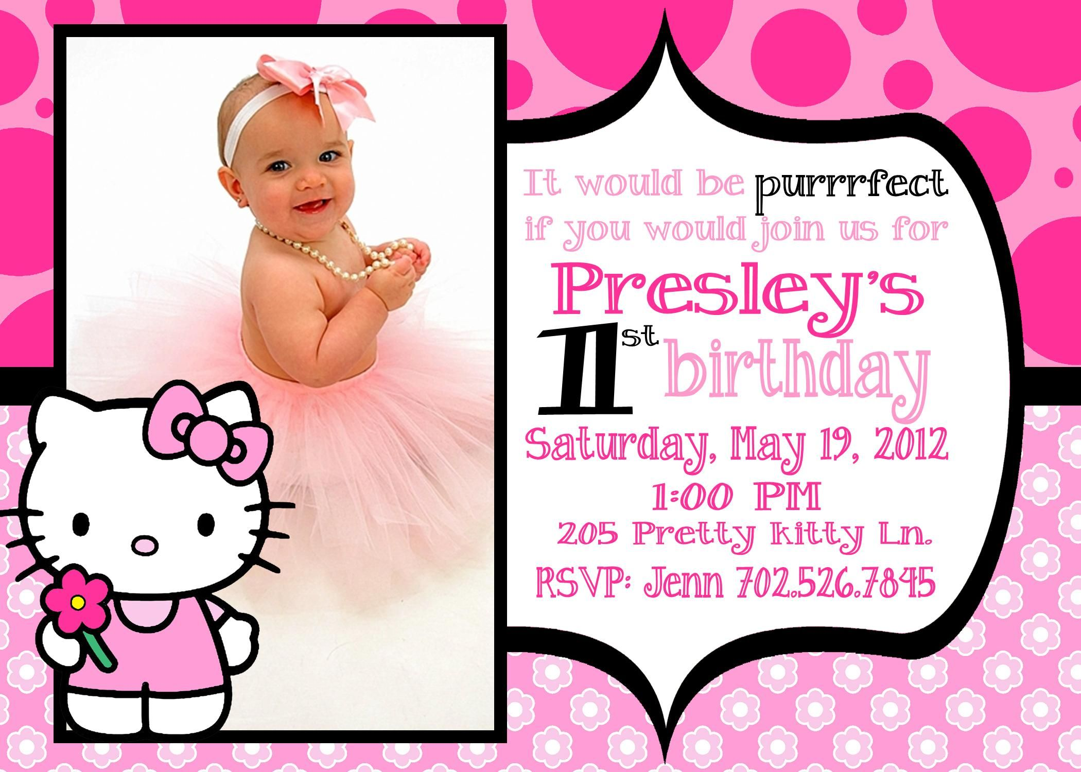 view invitation card for 1st birthday girl hello kitty formal dress invitations free coloring pages Hello Kitty Birthday Invitations Free Printable
