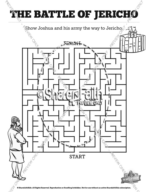 walls of jericho bible mazes sharefaith kids coloring mouseover3 flower simple color by coloring pages Walls Of Jericho Coloring Page
