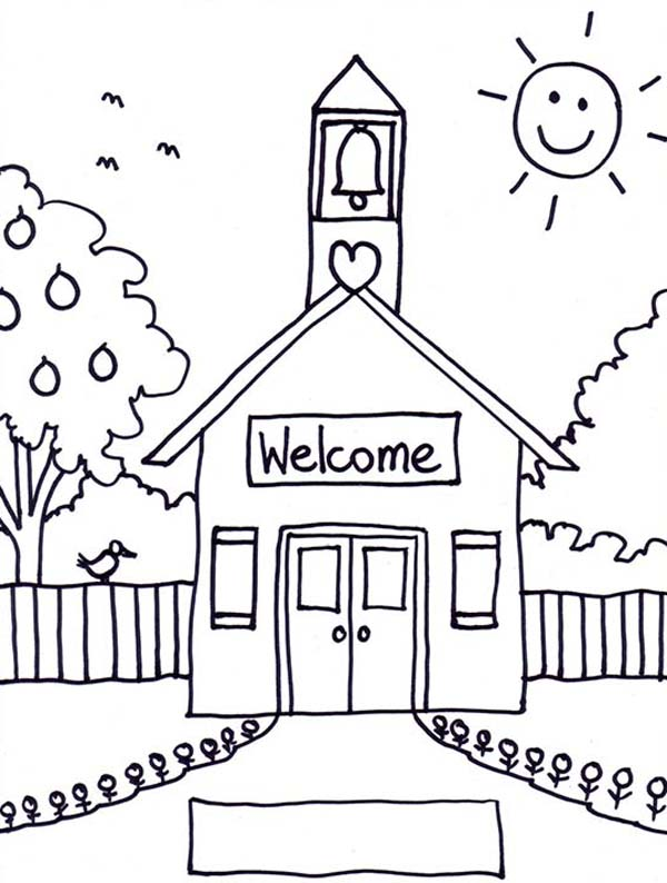 welcome to school house coloring sky egyptian wall simple pearwinkle crayola ink hair dye coloring pages School House Coloring Page