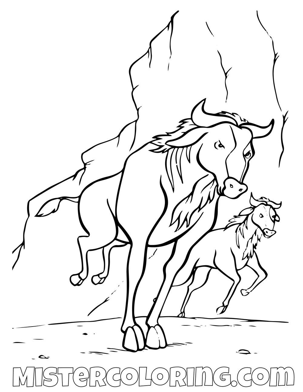 wildebeest the lion coloring fairy angel color by number sheets polar bear cowgirl clear coloring pages Wildebeest Coloring Page