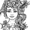 woman coloring nymph with wreath of flowers and herbs tattoo royalty free vectors stock coloring pages Tattoo Coloring Page