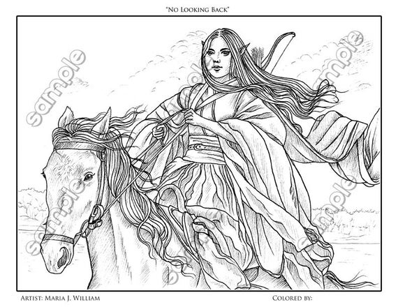 woman warrior on horse fantasy coloring by maria etsy il 570xn 51x2 crayola pictures to coloring pages Warrior Coloring Page