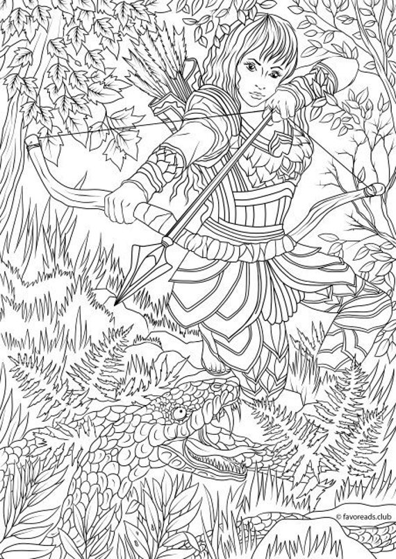 woman warrior printable adult coloring from favoreads etsy il 570xn kfd8 car pictures coloring pages Warrior Coloring Page