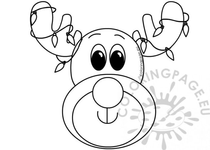 xmas reindeer with colored lights coloring printable ten commadments back in free coloring pages Reindeer Face Coloring Page