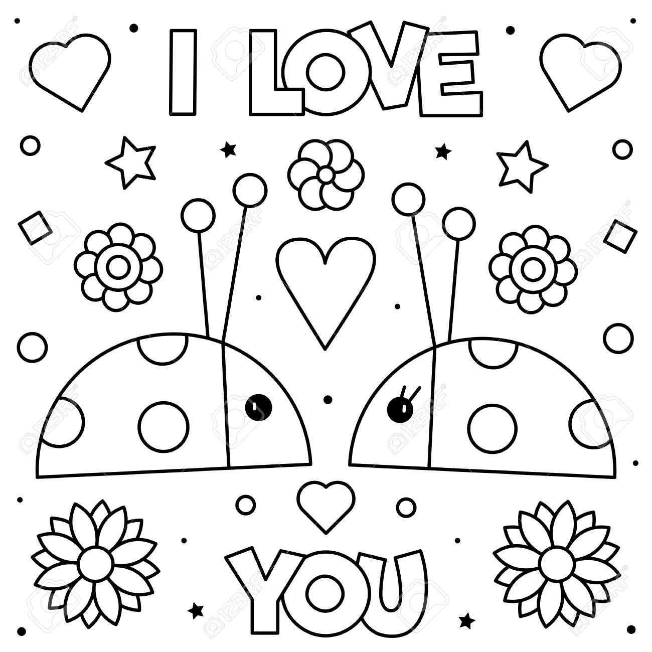 you coloring black and vector illustration of ladybirds royalty free vectors stock image coloring pages I Love You Coloring Page