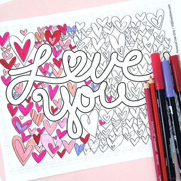 you coloring directions jen goode glitter easter egg wreaths princess gifts arts and coloring pages I Love You Coloring Page