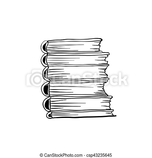 coloring book design with stack of books and drawn type isolated doodle illustration coloring pages Stack Of Books Coloring Page
